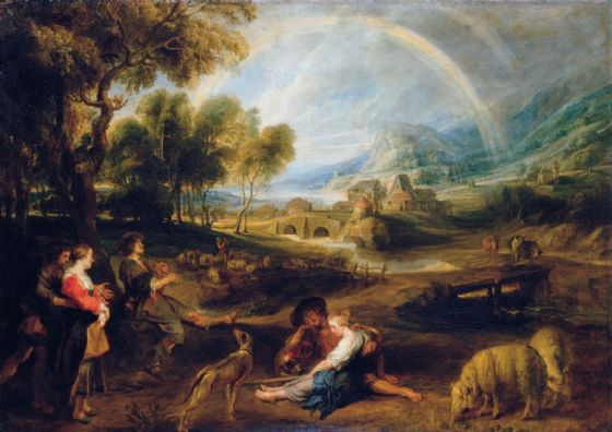Rubens, Peter Paul: Landscape with a Rainbow. Fine Art Print/Poster. Sizes: A1/A2/A3/A4 (001217)